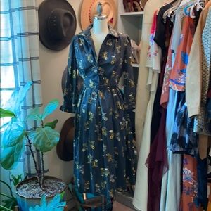 Vintage 50-60s a-line telephone day dress